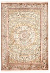 Kashmir 100% Silkki Matto 130X187 Itämainen Käsinsolmittu Beige/Tummanruskea (Silkki, Intia)
