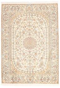 Kashmir 100% Silkki Matto 128X181 Itämainen Käsinsolmittu Beige (Silkki, Intia)