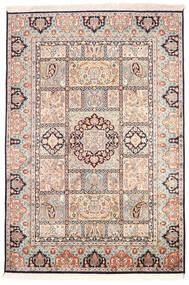 Kashmir 100% Silkki Matto 126X185 Itämainen Käsinsolmittu Beige/Vaaleanharmaa (Silkki, Intia)
