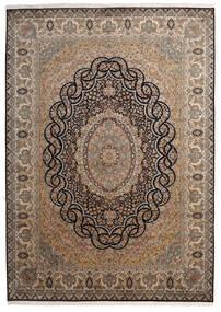 Kashmir 100% Silkki Matto 218X307 Itämainen Käsinsolmittu Ruskea/Tummanharmaa (Silkki, Intia)