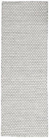 Kelim Honey Comb - Cream/Musta Matto 80X240 Moderni Käsinkudottu Käytävämatto Vaaleanharmaa/Beige (Villa, Intia)