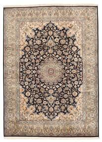 Kashmir 100% Silkki Matto 160X219 Itämainen Käsinsolmittu Vaaleanharmaa/Tummanruskea/Ruskea (Silkki, Intia)