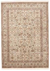 Kashmir 100% Silkki Matto 157X213 Itämainen Käsinsolmittu Ruskea/Vaaleanharmaa (Silkki, Intia)