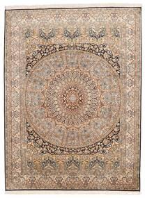 Kashmir 100% Silkki Matto 155X207 Itämainen Käsinsolmittu Ruskea/Tummanruskea (Silkki, Intia)