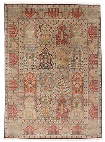 Kashmir 100% Silkki Matto 151X210 Itämainen Käsinsolmittu Ruskea/Vaaleanruskea (Silkki, Intia)