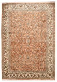 Kashmir 100% Silkki Matto 173X244 Itämainen Käsinsolmittu Ruskea/Vaaleanruskea (Silkki, Intia)