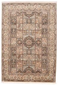 Kashmir 100% Silkki Matto 174X248 Itämainen Käsinsolmittu Ruskea/Tummanruskea (Silkki, Intia)