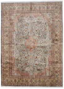 Kashmir 100% Silkki Matto 276X376 Itämainen Käsinsolmittu Vaaleanharmaa/Ruskea Isot (Silkki, Intia)