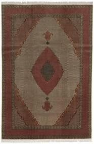 Tabriz 60 Raj Silkkiloimi Matto 200X300 Itämainen Käsinsolmittu Tummanpunainen/Tummanruskea (Villa/Silkki, Persia/Iran)