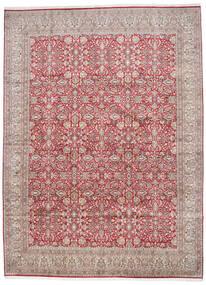 Kashmir 100% Silkki Matto 296X403 Itämainen Käsinsolmittu Vaaleanharmaa/Ruoste Isot (Silkki, Intia)