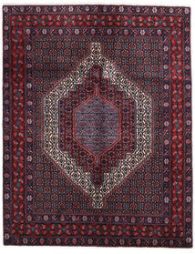 Senneh Matto 126X161 Itämainen Käsinsolmittu Musta/Tummanpunainen (Villa, Persia/Iran)