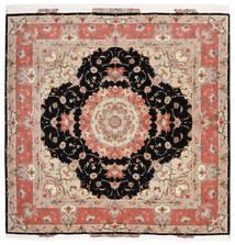 Tabriz 60 Raj Silkkiloimi Matto 202X204 Itämainen Käsinsolmittu Neliö Beige/Musta (Villa/Silkki, Persia/Iran)
