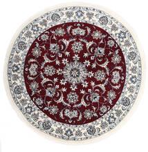 Nain Matto Ø 150 Itämainen Käsinsolmittu Pyöreä Vaaleanharmaa/Tummanpunainen (Villa, Persia/Iran)