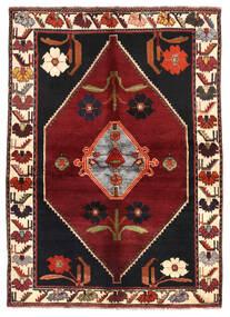 Shiraz Matto 144X203 Itämainen Käsinsolmittu Tummanpunainen/Tummanruskea (Villa, Persia/Iran)