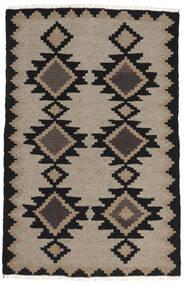 Kelim Matto 97X150 Itämainen Käsinkudottu Vaaleanharmaa/Musta (Villa, Persia/Iran)