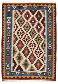 Kelim Matto 103X148 Itämainen Käsinkudottu Beige/Tummansininen (Villa, Persia/Iran)