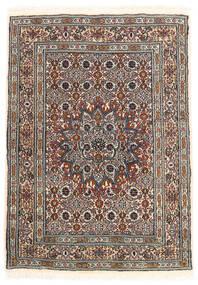 Moud Matto 60X85 Itämainen Käsinsolmittu Vaaleanharmaa/Tummanruskea (Villa/Silkki, Persia/Iran)