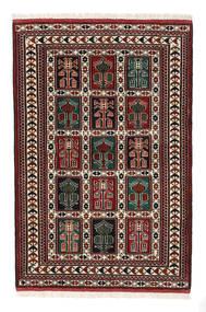 Turkaman Matto 98X146 Itämainen Käsinsolmittu Tummanruskea/Tummanpunainen (Villa, Persia/Iran)