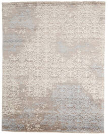 Damask Indo Matto 241X305 Moderni Käsinsolmittu Vaaleanharmaa/Beige (Villa/Bambu Silkki, Intia)