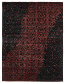Damask Indo Matto 237X305 Moderni Käsinsolmittu Musta/Tummanpunainen (Villa/Bambu Silkki, Intia)