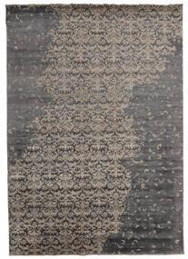 Damask Indo Matto 217X303 Moderni Käsinsolmittu Tummanharmaa/Vaaleanharmaa (Villa/Bambu Silkki, Intia)