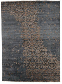 Damask Indo Matto 180X246 Moderni Käsinsolmittu Tummanharmaa/Musta (Villa/Bambu Silkki, Intia)