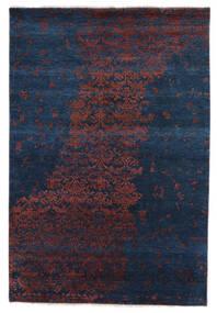 Damask Indo Matto 163X240 Moderni Käsinsolmittu Musta/Tummansininen (Villa/Bambu Silkki, Intia)