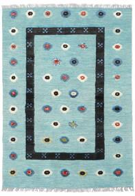 Kelim Nimbaft Matto 104X144 Moderni Käsinkudottu Vaaleansininen/Musta (Villa, Afganistan)