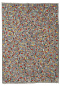 Kelim Afghan Old Style Matto 174X239 Itämainen Käsinkudottu Tummanharmaa/Vaaleanharmaa (Villa, Afganistan)