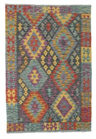 Kelim Afghan Old Style Matto 122X179 Itämainen Käsinkudottu Tummanharmaa/Tummanpunainen (Villa, Afganistan)