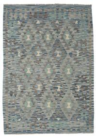 Kelim Afghan Old Style Matto 127X180 Itämainen Käsinkudottu Vaaleanharmaa/Tummanharmaa/Vihreä (Villa, Afganistan)