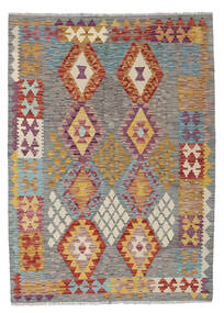 Kelim Afghan Old Style Matto 129X179 Itämainen Käsinkudottu Tummanharmaa/Vaaleanharmaa (Villa, Afganistan)