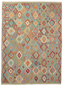 Kelim Afghan Old Style Matto 260X352 Itämainen Käsinkudottu Vaaleanharmaa/Vaaleanruskea Isot (Villa, Afganistan)