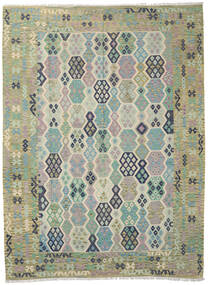 Kelim Afghan Old Style Matto 264X354 Itämainen Käsinkudottu Vaaleanharmaa/Siniturkoosi Isot (Villa, Afganistan)