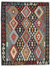 Kelim Afghan Old Style Matto 131X173 Itämainen Käsinkudottu Musta/Tummanpunainen (Villa, Afganistan)