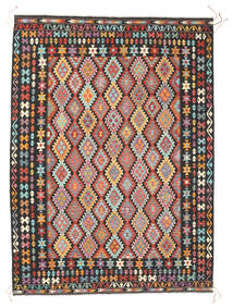Kelim Afghan Old Style Matto 260X356 Itämainen Käsinkudottu Tummanharmaa/Vaaleanruskea Isot (Villa, Afganistan)