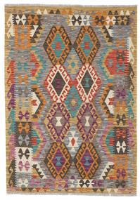 Kelim Afghan Old Style Matto 124X175 Itämainen Käsinkudottu Tummanharmaa/Vaaleanruskea (Villa, Afganistan)
