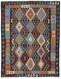 Kelim Afghan Old Style Matto 156X202 Itämainen Käsinkudottu Musta/Vaaleanruskea (Villa, Afganistan)