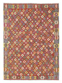 Kelim Afghan Old Style Matto 165X226 Itämainen Käsinkudottu Tummanpunainen/Ruskea (Villa, Afganistan)