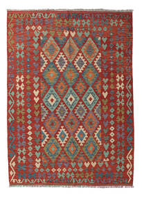 Kelim Afghan Old Style Matto 177X242 Itämainen Käsinkudottu Tummanpunainen/Tummanharmaa (Villa, Afganistan)