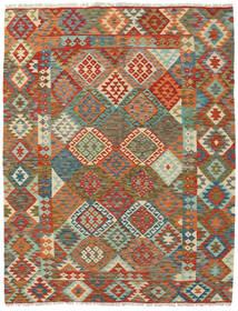 Kelim Afghan Old Style Matto 191X240 Itämainen Käsinkudottu Punainen/Oliivinvihreä (Villa, Afganistan)