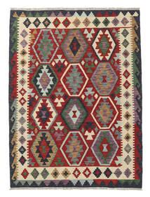 Kelim Afghan Old Style Matto 131X173 Itämainen Käsinkudottu Tummanpunainen/Musta (Villa, Afganistan)