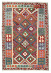 Kelim Afghan Old Style Matto 127X182 Itämainen Käsinkudottu Tummanpunainen/Tummanharmaa (Villa, Afganistan)