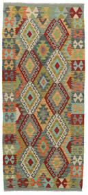 Kelim Afghan Old Style Matto 86X200 Itämainen Käsinkudottu Käytävämatto Tummanharmaa/Vaaleanvihreä (Villa, Afganistan)