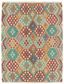 Kelim Afghan Old Style Matto 153X196 Itämainen Käsinkudottu Tummanbeige/Tummanpunainen (Villa, Afganistan)