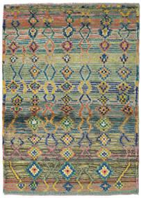 Moroccan Berber - Afghanistan Matto 98X136 Moderni Käsinsolmittu Vaaleanharmaa/Oliivinvihreä (Villa, Afganistan)
