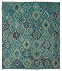 Kelim Afghan Old Style Matto 215X245 Itämainen Käsinkudottu Siniturkoosi/Sininen (Villa, Afganistan)