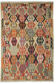 Kelim Afghan Old Style Matto 205X311 Itämainen Käsinkudottu Tummanpunainen/Tummanbeige (Villa, Afganistan)