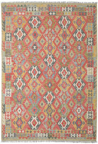 Kelim Afghan Old Style Matto 206X300 Itämainen Käsinkudottu Tummanpunainen/Vaaleanharmaa (Villa, Afganistan)