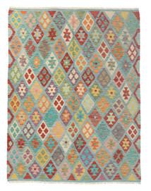 Kelim Afghan Old Style Matto 152X195 Itämainen Käsinkudottu Valkoinen/Creme/Tummanvihreä (Villa, Afganistan)
